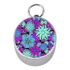 Vibrant Floral Collage Print Mini Silver Compasses by dflcprints