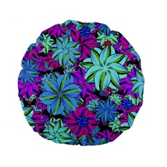 Vibrant Floral Collage Print Standard 15  Premium Flano Round Cushions by dflcprints
