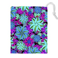 Vibrant Floral Collage Print Drawstring Pouches (xxl) by dflcprints