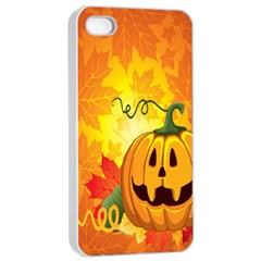 Halloween Pumpkin Apple Iphone 4/4s Seamless Case (white) by AnjaniArt