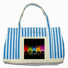 Hellowen Face Striped Blue Tote Bag by AnjaniArt