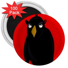 Halloween   Old Raven 3  Magnets (100 Pack) by Valentinaart