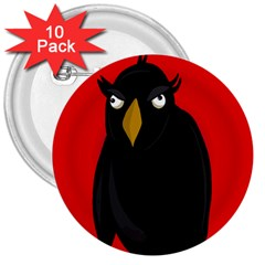 Halloween   Old Raven 3  Buttons (10 Pack)  by Valentinaart