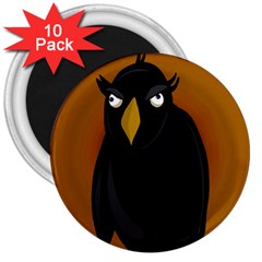 Halloween   Old Black Rawen 3  Magnets (10 Pack)  by Valentinaart