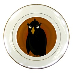 Halloween   Old Black Rawen Porcelain Plates by Valentinaart