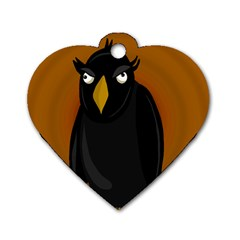 Halloween   Old Black Rawen Dog Tag Heart (one Side) by Valentinaart