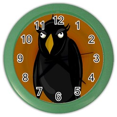 Halloween - old black rawen Color Wall Clocks by Valentinaart
