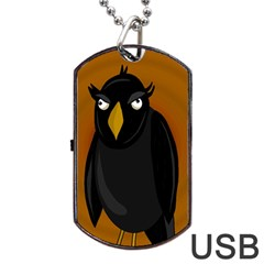 Halloween   Old Black Rawen Dog Tag Usb Flash (two Sides)  by Valentinaart