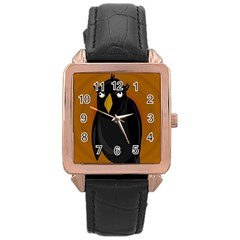 Halloween   Old Black Rawen Rose Gold Leather Watch  by Valentinaart