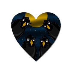 Halloween   Black Crow Flock Heart Magnet by Valentinaart