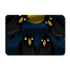 Halloween   Black Crow Flock Small Doormat  by Valentinaart