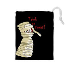 Halloween Mummy   Drawstring Pouches (large)  by Valentinaart