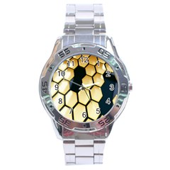 Honeycomb Yellow Rendering Ultra Stainless Steel Analogue Watch by AnjaniArt