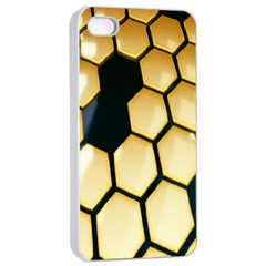 Honeycomb Yellow Rendering Ultra Apple Iphone 4/4s Seamless Case (white) by AnjaniArt