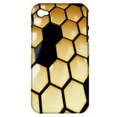 Honeycomb Yellow Rendering Ultra Apple Iphone 4/4s Hardshell Case (pc+silicone) by AnjaniArt