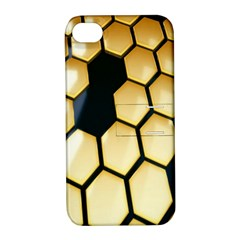 Honeycomb Yellow Rendering Ultra Apple Iphone 4/4s Hardshell Case With Stand by AnjaniArt