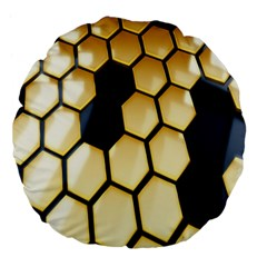 Honeycomb Yellow Rendering Ultra Large 18  Premium Flano Round Cushions by AnjaniArt