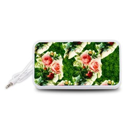 Floral Collage Portable Speaker (White)  by Zeze