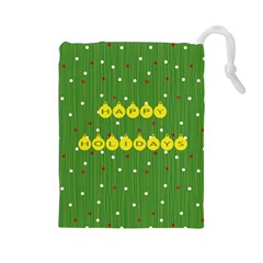 Happy Holidays Green Drawstring Pouch (large) by PhotoThisxyz