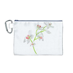 Isolated Orquideas Blossom Canvas Cosmetic Bag (M)