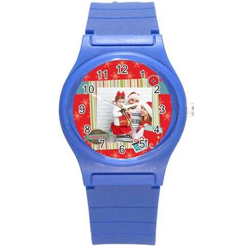 Xmas Merry Christmas By 2016   Round Plastic Sport Watch (s)   73l4bkyihe62   Www Artscow Com Front