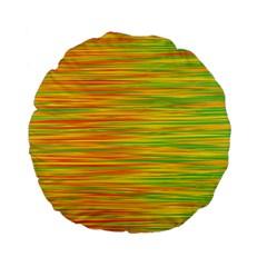 Green And Oragne Standard 15  Premium Flano Round Cushions by Valentinaart
