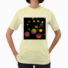 Colorful Galaxy Women s Yellow T Shirt by Valentinaart