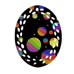 Colorful galaxy Oval Filigree Ornament (2-Side)  by Valentinaart