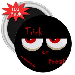 Halloween  trick Or Treat    Monsters Red Eyes 3  Magnets (100 Pack) by Valentinaart