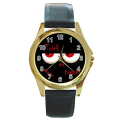 Halloween  trick Or Treat    Monsters Red Eyes Round Gold Metal Watch by Valentinaart