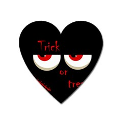 Halloween  trick Or Treat    Monsters Red Eyes Heart Magnet by Valentinaart