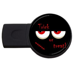 Halloween  trick Or Treat    Monsters Red Eyes Usb Flash Drive Round (4 Gb)  by Valentinaart