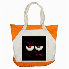 Halloween  trick Or Treat    Monsters Red Eyes Accent Tote Bag by Valentinaart
