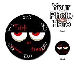 Halloween  trick Or Treat    Monsters Red Eyes Playing Cards 54 (round)  by Valentinaart
