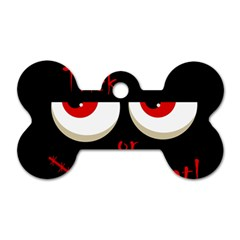 Halloween  trick Or Treat    Monsters Red Eyes Dog Tag Bone (one Side) by Valentinaart