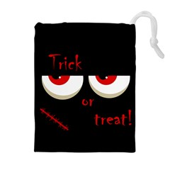 Halloween  trick Or Treat    Monsters Red Eyes Drawstring Pouches (extra Large) by Valentinaart