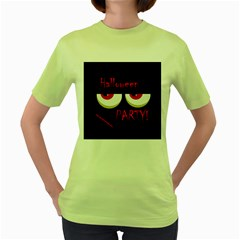Halloween Party   Red Eyes Monster Women s Green T Shirt by Valentinaart