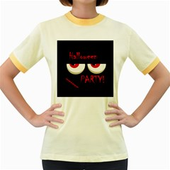 Halloween Party   Red Eyes Monster Women s Fitted Ringer T Shirts by Valentinaart