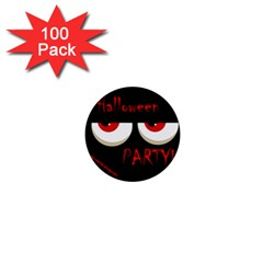 Halloween Party   Red Eyes Monster 1  Mini Buttons (100 Pack)  by Valentinaart