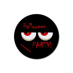 Halloween Party   Red Eyes Monster Rubber Coaster (round)  by Valentinaart