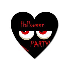 Halloween Party   Red Eyes Monster Heart Magnet by Valentinaart