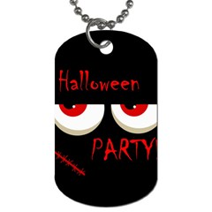 Halloween Party   Red Eyes Monster Dog Tag (two Sides) by Valentinaart