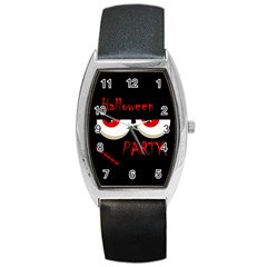 Halloween Party   Red Eyes Monster Barrel Style Metal Watch by Valentinaart
