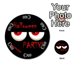 Halloween party - red eyes monster Playing Cards 54 (Round)  by Valentinaart