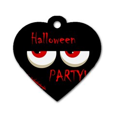 Halloween Party   Red Eyes Monster Dog Tag Heart (two Sides) by Valentinaart