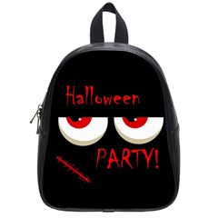 Halloween Party   Red Eyes Monster School Bags (small)  by Valentinaart