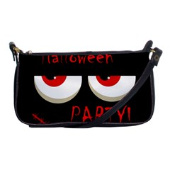 Halloween Party   Red Eyes Monster Shoulder Clutch Bags by Valentinaart
