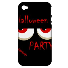 Halloween Party   Red Eyes Monster Apple Iphone 4/4s Hardshell Case (pc+silicone) by Valentinaart