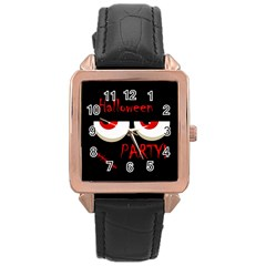 Halloween Party   Red Eyes Monster Rose Gold Leather Watch  by Valentinaart