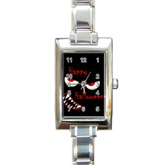 Happy Halloween   Red Eyes Monster Rectangle Italian Charm Watch by Valentinaart